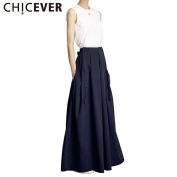 CHICEVER 2017 Summer Women Two Wear Wide Leg Pants Female Loose Strap Culottes Korean Trouses New Fashion Clothing Elastic Waist