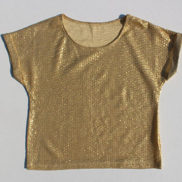 Gold Lamé Crop top tshirt - metallic lame petite vintage t-shirt -Glitter Fitted Vintage  Retro Short Sleeve -Festival Metallic  XS 32 Small