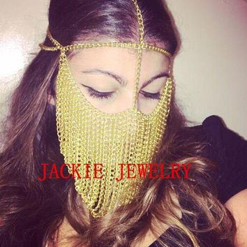 ac PEAPO2Q FREE SHIPPING NEW STYLE B706 Women Gold Chains Sexy Layers Face Head Chains Unique Design Mask Chains Jewelry 3 Colors