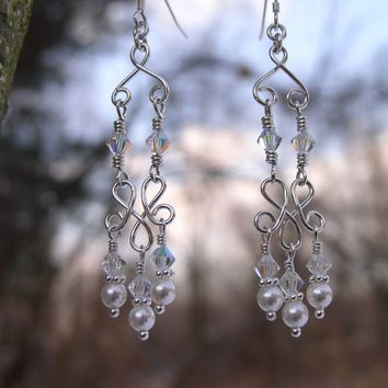 Bridal Chandelier Earrings | Wedding Earrings | Pearl Chandelier Earrings