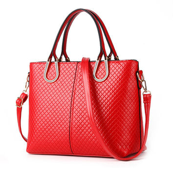 Women PU Leather Handbags 2016 Women Bags Casual Shoulder Bags Women PU Leather Ladies Bags Red