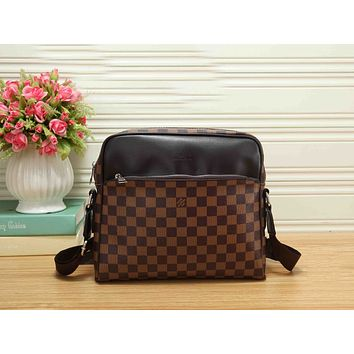LV Classic Stylish Women Monogram Leather Zipper Shoulder Bag Crossbody Satchel Coffee Tartan I-RF-PJ