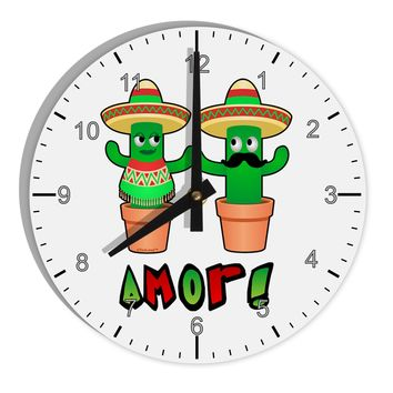 "Fiesta Cactus Couple Amor 8"" Round Wall Clock with Numbers by TooLoud"