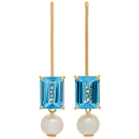 18K Gold Blue Topaz And Pearl Earrings | Moda Operandi