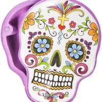 SUGAR SKULL STASH BOX WHITE/PURPLE - Housewares