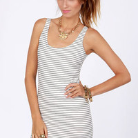 Billabong River Falls Black and Ivory Striped Dress
