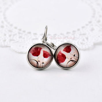 Red Poppy Dangle Earring, Bright Silver, Glass Dome, Pendant Earrings, Flower Earrings, Red Flowers Picture, Picture Earrings