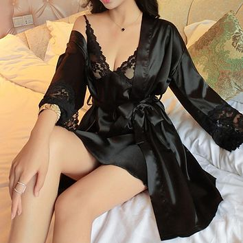 New Sexy Women's Lace Silk Satin Nightgown + Bathrobe Pajamas Sets Long Sleeve Sleepwear lounge Set female Nightdress Homewear