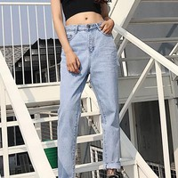 Blue Cut Out Pockets Buttons High Waisted Mom Boyfriend Slacks Long Jeans