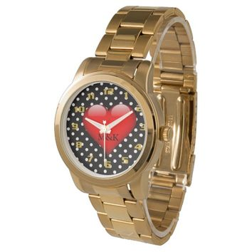 Polka dot Pattern Monogram My Heart Belongs To you Watches