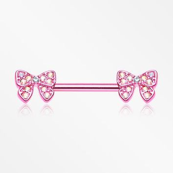 A Pair of Pink Dainty Bow-Tie Sparkle Nipple Barbell Ring