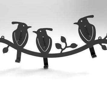 6-Hook Bird-Design Black Wall Mounted Metal Rail/Garment Rack for Hanging Coats/Towels 16108