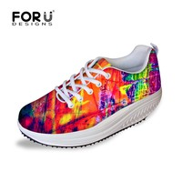 FORUDESIGNS Slimming Women Casual Swing Shoes Women's Flats Platform Shoes Height Increasing Lose Weight Shoes for Ladies Female