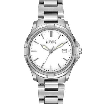 Citizen Eco-Drive Ladies Silhouette Sport Watch - Stainless Steel - White Dial