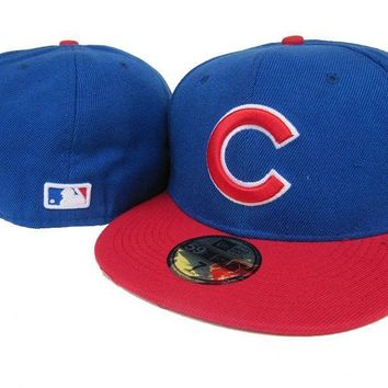 LMFON Chicago Cubs New Era 59FIFTY MLB Hat Blue-Red