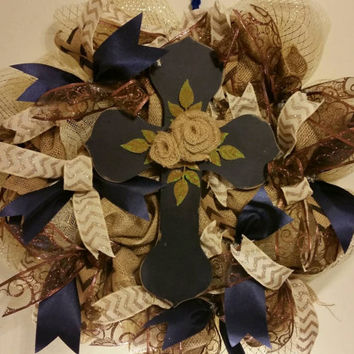 "Handmade Burlap flower Cross Wreath. Rustic deco poly mesh and burlap wreath with large blue wooden cross and ribbons. 26"" Easter"