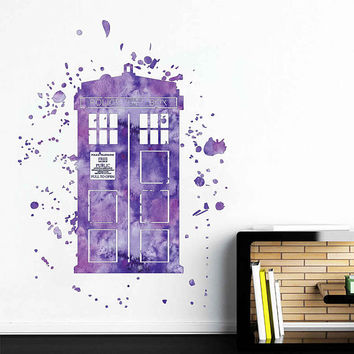 cik1861 Full Color Wall decal Watercolor Time Machine Spaceship tardis doctor who living children's bedroom