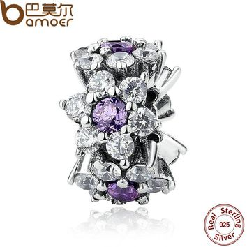 100% 925 Sterling Silver Jewelry FORGET ME NOT SPACER Purple Charms Fit Bracelet Beads Jewelry Making PAS286