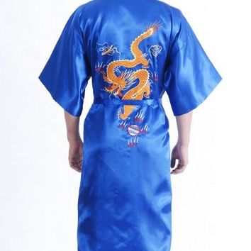 Vintage Blue Chinese Men's Silk Satin Robe Handmade Embroidery Dragon Nightgown Kimono Bath Gown Pajama Size S M L XL XXL MR004
