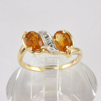 Vintage Gold Ring  - Ladies 14K Gold 1.7CT Citrine and Diamond Ring - dual stone ring - engagement ring wedding jewelry