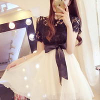 Temperament Lace Bow Waist Gauze Tutu Dress