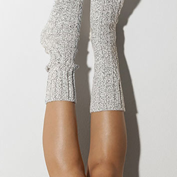 Salt N' Pepper Marled Cable Knit Crew Socks