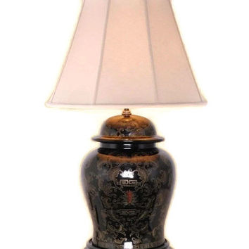 """Beautiful Chinese Black Lacquer Ginger Jar Table Lamp w Shade and Finial 28.5"""""""
