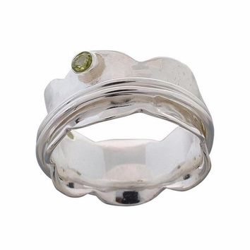 Arvino 925 Sterling Silver Ring With Peridot Gemstone