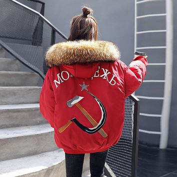 winter jacket women Embroidery harajuku parka femme quilted coat black woman warm winter coats and jackets big size jackets red