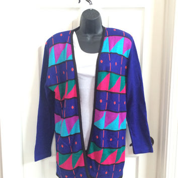 Vintage 80s Blue Cardigan / 80s Sweater / Abstract Bold Sweater / Geometric