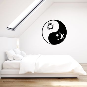 Vinyl Wall Decal Yin Yang Sun Moon Stars Bedroom Decoration Dream Room Stickers Mural (ig5529)
