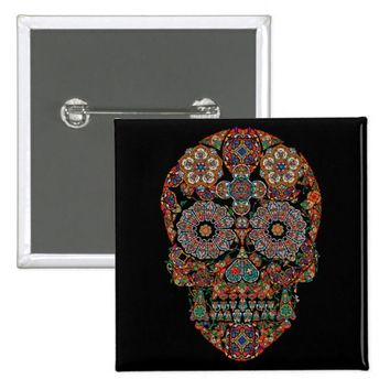 Flower Sugar Skull Square Button