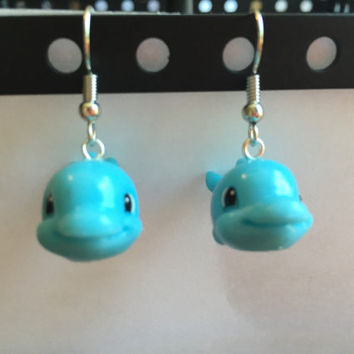 Squinkies Earrings -  Dolphin - made from re-purposed toys