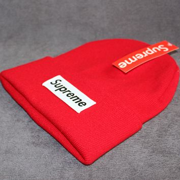 Supreme knit hat patch letters wool cap Red