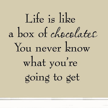 Life is Like a Box of Chocolates Wall Decal Quotes Saying Vinyl Wall Art Deco...