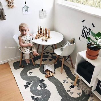 Nordic Baby Kids Crawling Rug Adventure Forest Blanket Play Mats Road Track Game Gym Play Mat Floor Carpet Kids Room Decoration