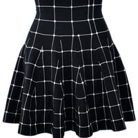 Black Plaid Mini Skater Skirt