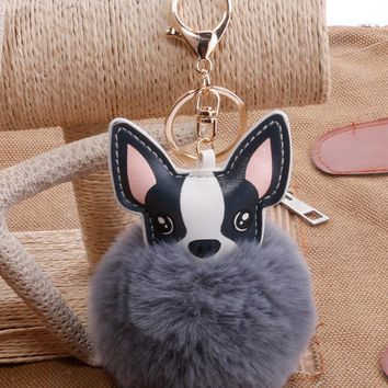 Little Dog Cute Kawaii Animal Pendant Keychain Key Ring Bag Car Key Decoration Party Small Gift Present to Friend Black White