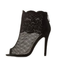 Black Qupid Lace Trim Peep Toe Heel Booties