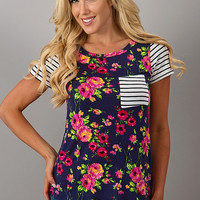 Floral And Stripes Top - Navy