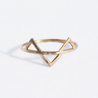 Three Gold Spikes Ring, 14 kt Gold FIlled, Geometric Triangle Ring, Three Gold Spikes Ring, Thin GoldRing