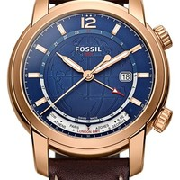 Men's Fossil Swiss GMT Leather Strap Watch, 45mm