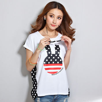 Dot Print Tops Womens Summer Casual Loose Short Sleeve T Shirt Tees Patchwork Kawaii Plus Size Women Tshirts White Clothes A262
