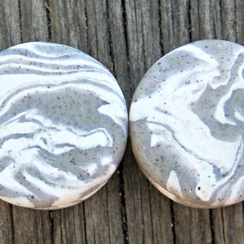 "Stone Ear Plugs, Custom Ear Gauges, White Granite Plugs, Polymer Clay Gauges- Any Size 8G (3.2 mm) - 1"" (25 mm), Larger Sizes Available"
