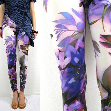 Purple flower leggings multicolor print purple pink by Bartinki
