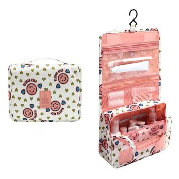 2016 Women Waterproof Portable Cosmetic Bag Hanging MeshTravel Toiletry Storage Purse Organizer Makeup Pouch Free Shipping F416