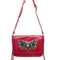 """Deaths Head Moth"" Cheap Thrills Purse by Sourpuss (Red)"