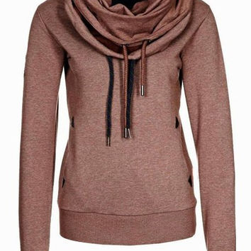 Brown Cowl Neck Long Sleeve Sweatshirt