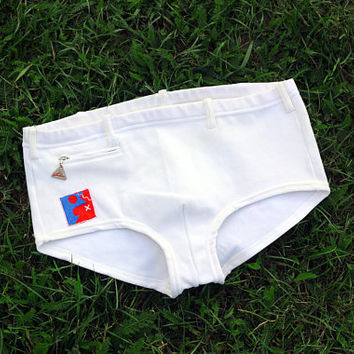 1960's LAHCO Swimming Trunks / Swiss Vintage White Nautical Mens Low Rise, Low Cut Swim Shorts, Mod Swimwear, Bathing Suit + Pocket -> S - M