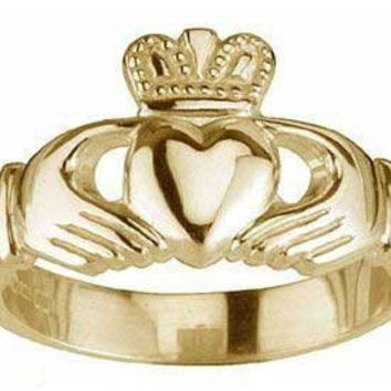 Ladies 14K Yellow Gold Silver Irish Claddagh Ring - Custom Engraved